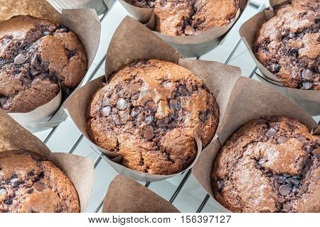 Tasty homemade chocolate muffins in brown paper cupcakes on baking rack.