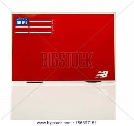 Winneconne WI - 11 November 2016: Box that contains New Balance gear on an isolated background.
