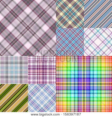 Collection colorful geometric seamless patterns vector EPS10