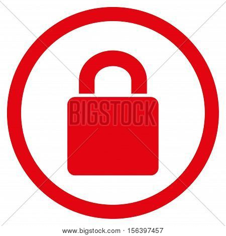Lock vector rounded icon. Image style is a flat icon symbol inside a circle, red color, white background.