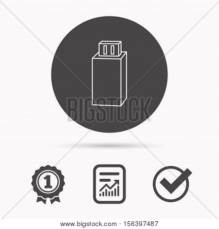 USB drive icon. Flash stick sign. Mobile data storage symbol. Report document, winner award and tick. Round circle button with icon. Vector