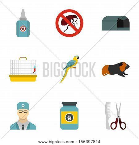 Veterinary animals icons set. Flat illustration of 9 veterinary animals vector icons for web