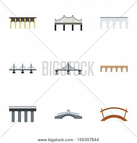 Bridge icons set. Flat illustration of 9 bridge vector icons for web