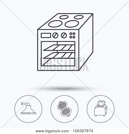 Oven, toaster and waffle-iron icons. Kitchen hood linear sign. Linear icons in circle buttons. Flat web symbols. Vector
