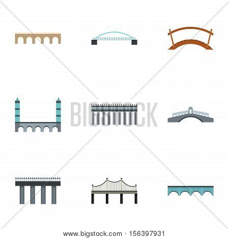 Facility for crossing river icons set. Flat illustration of 9 facility for crossing river vector icons for web