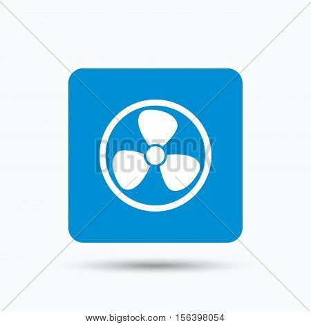 Ventilation icon. Air ventilator or fan symbol. Blue square button with flat web icon. Vector