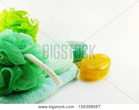 Soap with bath puff and loofah spa kit
