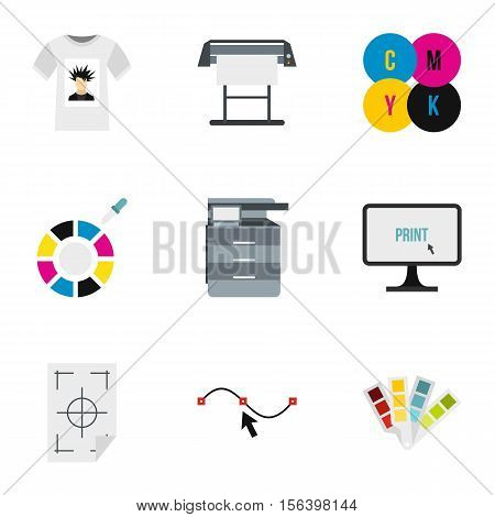 Printing in polygraphy icons set. Flat illustration of 9 printing in polygraphy vector icons for web