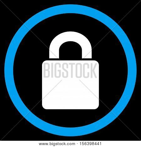 Lock vector bicolor rounded icon. Image style is a flat icon symbol inside a circle, blue and white colors, black background.