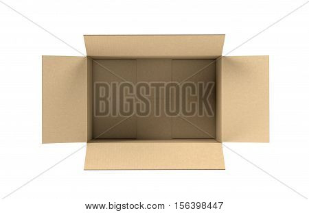 3d rendering of an opened light beige cardboard mail box, isolated on the white background, top view. Postal services. Packing and crating. Storage of different products.