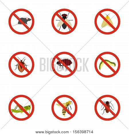 No insects icons set. Flat illustration of 9 no insects vector icons for web