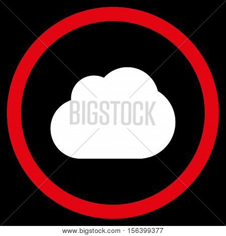 Cloud vector bicolor rounded icon. Image style is a flat icon symbol inside a circle, red and white colors, black background.