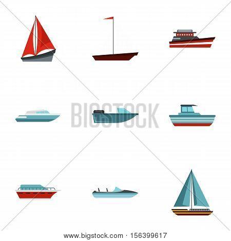 Maritime transport icons set. Flat illustration of 9 maritime transport vector icons for web