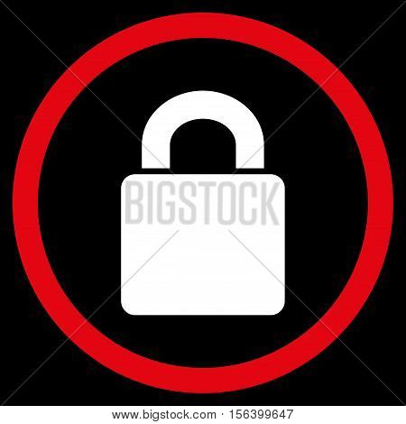 Lock vector bicolor rounded icon. Image style is a flat icon symbol inside a circle, red and white colors, black background.