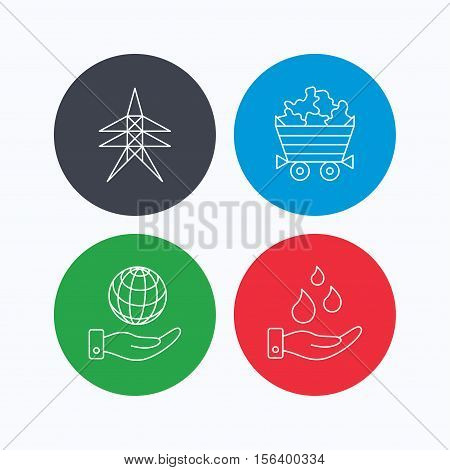 Save water, planet and electricity station icons. Minerals linear sign. Linear icons on colored buttons. Flat web symbols. Vector