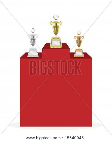 a Gold silver bronze trophy on a white background
