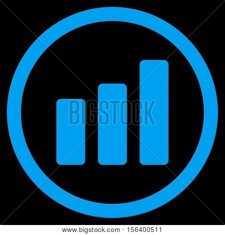 Bar Chart Increase vector rounded icon. Image style is a flat icon symbol inside a circle, blue color, black background.