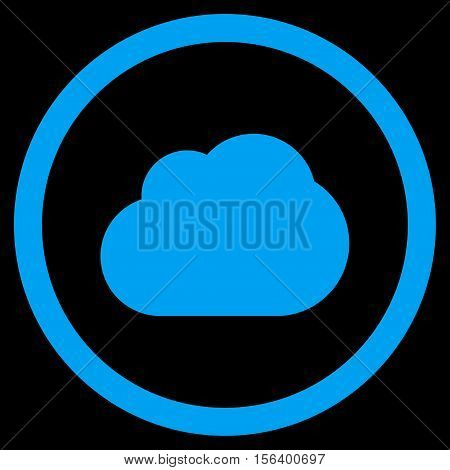 Cloud vector rounded icon. Image style is a flat icon symbol inside a circle, blue color, black background.