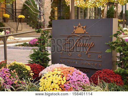 Entrance sign to Trump Tower at City Center condominiums (10 City Place) on November 13, 2016 in White Plains, Westchester, New York.