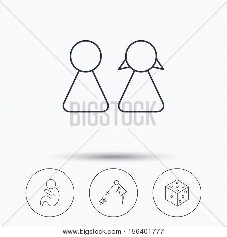 Couple, paediatrics and dice icons. Under supervision linear sign. Linear icons in circle buttons. Flat web symbols. Vector