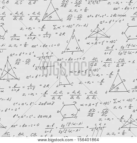 Seamless pattern on the theme of the subject of geometry formulas and charts of theorems a bright outline on a white background
