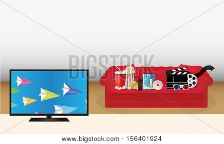 smart tv with pop corn film cd disc dvd movie box smart television film remote ticket emotion mask 3d glasses