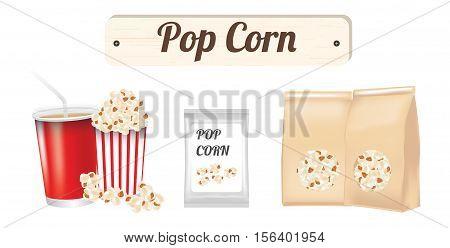 Pop corn set on a white background
