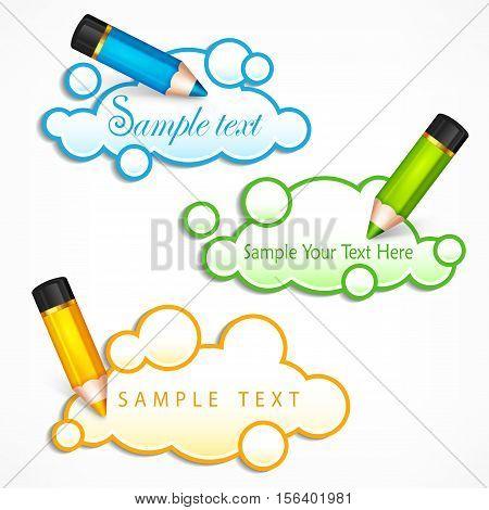 Pencils And Cloud Speech Bubbles & Text