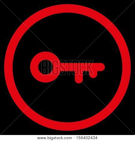 Key vector rounded icon. Image style is a flat icon symbol inside a circle, red color, black background.