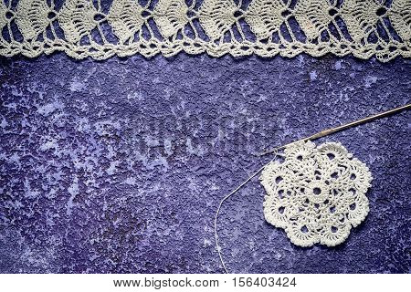 Small Round Handmade Crocheted Tablecloth, Crocheted Lace Border, Crochet Hook And Plenty Of Copy Sp
