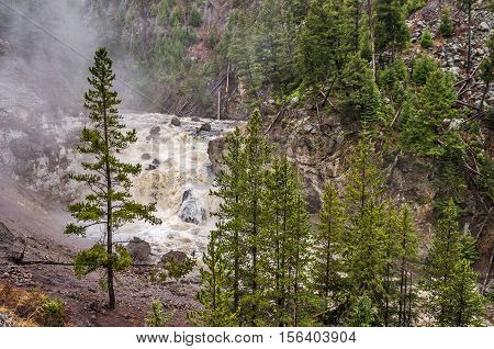 Firehole Falls in Firehole Canyon in Yellowstone National Park