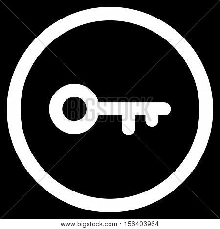 Key vector rounded icon. Image style is a flat icon symbol inside a circle, white color, black background.