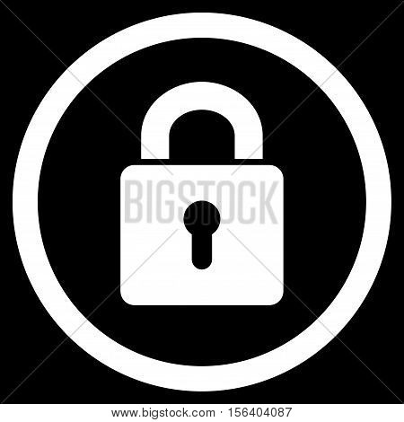 Lock Keyhole vector rounded icon. Image style is a flat icon symbol inside a circle, white color, black background.