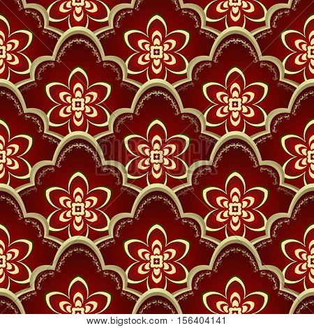 Vintage seamless pattern with gold and red gradient flowers vector