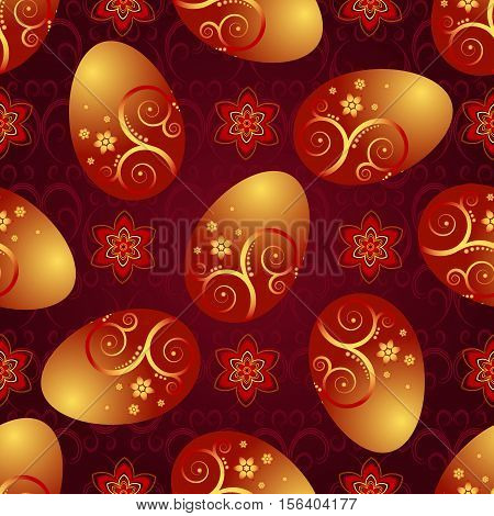Bright red pattern with Easter golden shiny eggs and flowers vector