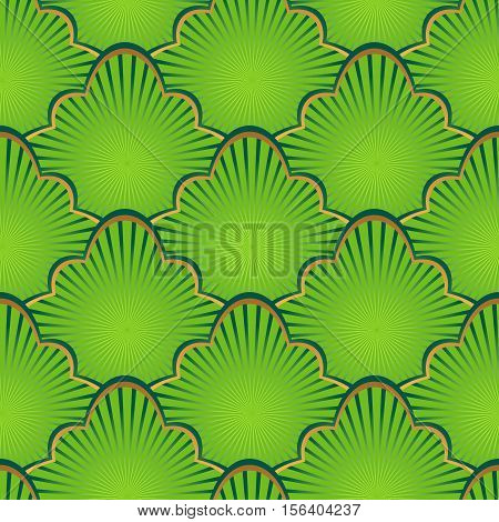 Golden and green seamless pattern with shiny gradient vintage figures with rays vector