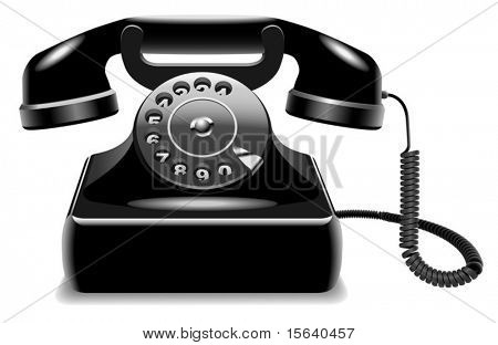 Vector illustration of realistic outdated black telephone isolated on white background.