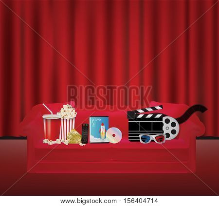 a popcorn drink remote dvd movie box 3d glass film on a Red sofa with red curtain backgrond