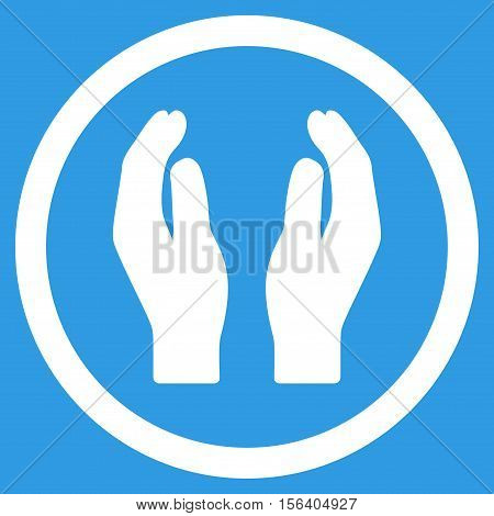 Applause Hands vector rounded icon. Image style is a flat icon symbol inside a circle, white color, blue background.