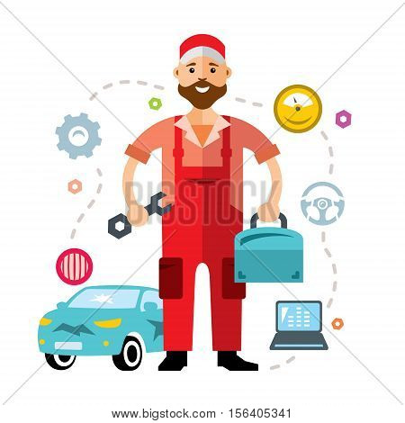 Attractive young man wearing overalls and holding a wrench and tool box. Isolated on a white background