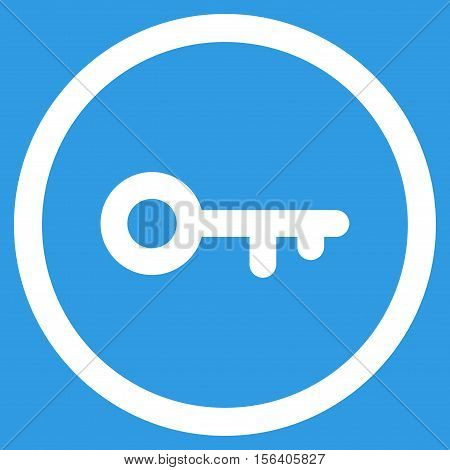 Key vector rounded icon. Image style is a flat icon symbol inside a circle, white color, blue background.