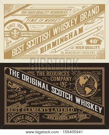 Set of Old  labels for Whiskey