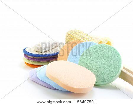 Close up of bath puff and loofah spa kit