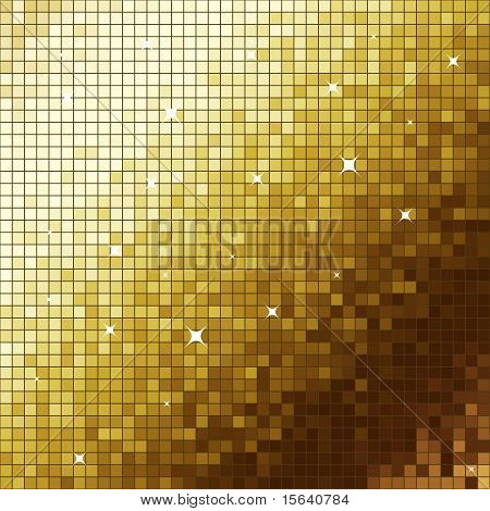 Golden like mosaic flickering square vector background.