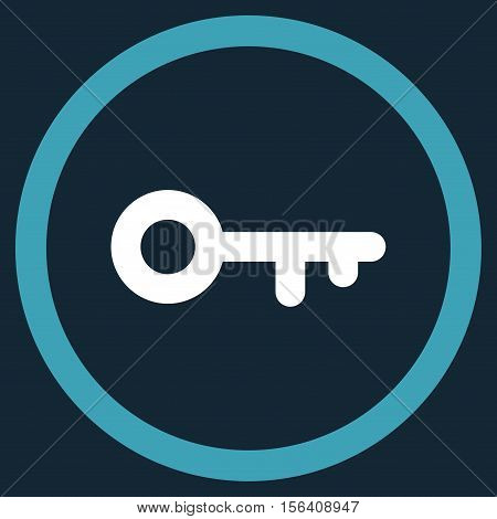 Key vector bicolor rounded icon. Image style is a flat icon symbol inside a circle, blue and white colors, dark blue background.