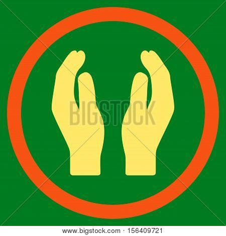 Applause Hands vector bicolor rounded icon. Image style is a flat icon symbol inside a circle, orange and yellow colors, green background.