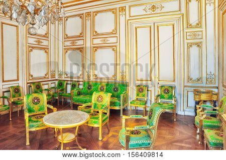 Fontainebleau, France - July 09, 2016 : Fontainebleau Palace Interiors. The White Salon. Chateau Was
