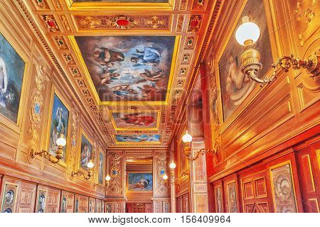 Fontainebleau, France - July 09, 2016 : Fontainebleau Palace Interiors. Plate Gallery. Chateau Was O