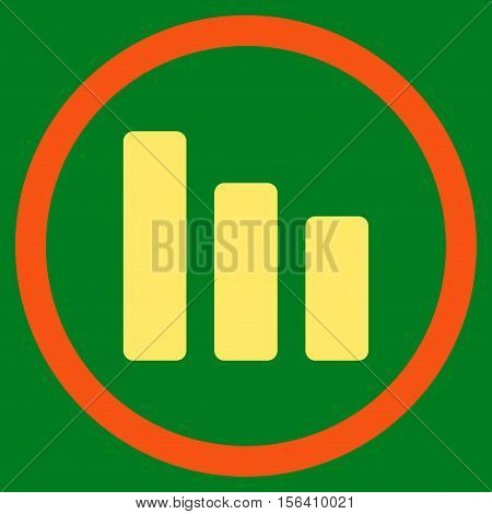 Bar Chart Decrease vector bicolor rounded icon. Image style is a flat icon symbol inside a circle, orange and yellow colors, green background.