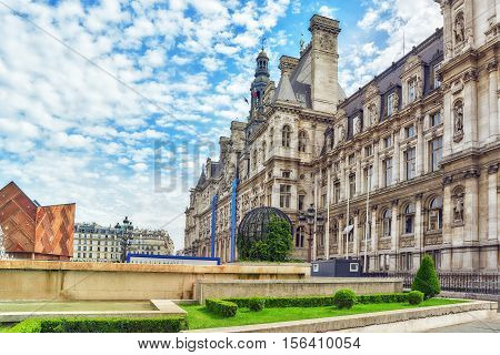 Hotel De Ville In Paris, Is The Building Housing City's Local Administration,it Has Been The Headqua